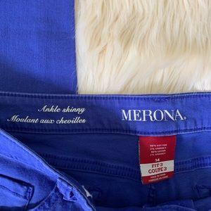 Merona Jeans - Merona Ankle Skinny Jeans, Blue, Size 14